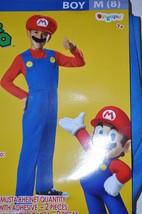 Super Mario Costume Child 8 Medium W/Jumpsuit Hat & Mustache NEW - $27.76