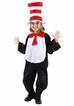 CAT IN THE HAT DR SEUSS COSTUME SET 2T 3T 4T JUMPSUIT HAT BOW TIE TAIL - $32.68