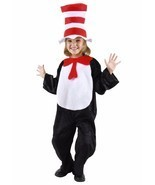 CAT IN THE HAT DR SEUSS COSTUME SET 2T 3T 4T JUMPSUIT HAT BOW TIE TAIL - $40.97 CAD