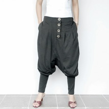 Unisex Ninja Trouser Comfortable Low Crotch Pants,Charcoal Grey in Cotto... - $29.90