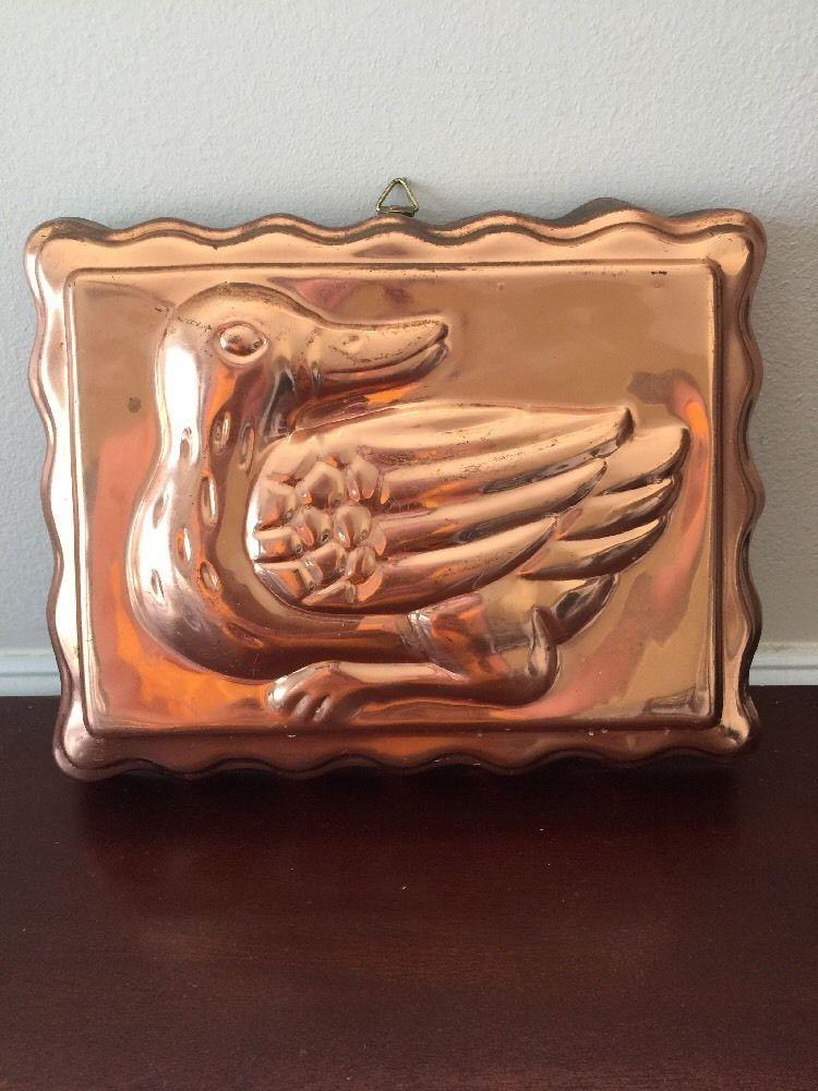 Vintage Copper Metal Tone Duck Ducky Jello Mold Rectangle Wall Decor