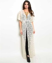 New S Ivory Lace Boho Long Kimono Perfect As A Beach Cover Up Or Over A ... - $15.90