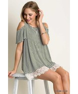 Umgee S Olive And Cream Stripe Tunic With Lace Hem And Cold Shoulder. Bo... - $19.62