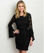 New S Black Lace Boho Dress Bell Sleeve Mini - $24.30