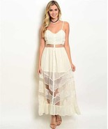 New Ivory Maxi Dress with Sheer Lace Panels and  Ruffle Hem Beach Sexy S... - $21.50