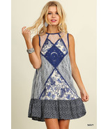 New Umgee USA Blue Sleeveless Print Dress with Lace Details S,M - $23.00