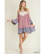 New Umgee USA Cold Shoulder Bohemian Dress Red S,M,L - $34.50