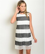 New Black and White Crochet Lined Shift Dress Classy S,M,L - $20.99