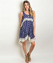 New Wanderlust LA Navy Floral Dress With Lace Hem S,M,L - $22.99