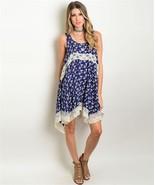New Wanderlust LA Navy Floral Dress With Lace Hem S,M,L - $22.99