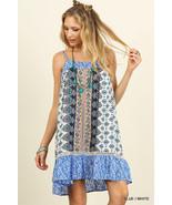 New Umgee USA Sleeveless Blue Boho Print Dress featuring Spaghetti Strap... - $22.00
