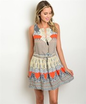 New Davi and Dani Boho Dress Cream and Orange Crochet Print Mini S,M,L - $525,39 MXN