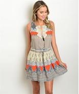 New Davi and Dani Boho Dress Cream and Orange Crochet Print Mini S,M,L - $25.99