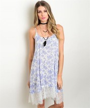 New Wanderlust LA blue and white paisley print dress with lace hem boho ... - $20.56+