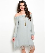 New flowy bohemian dress fringe hem sage S, M, L - $20.00