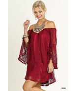 New Umgee USA Off Shoulder Lace Shift Dress Wine S - $31.30