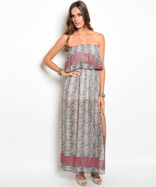 New Strapless Maxi Dress Boho Print  Ruffle Chest Beach Summer Large.