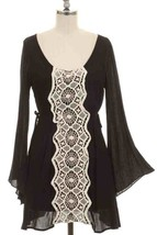 New Black Lace Front Dress S Boho Chic Very Beautiful - $14.01