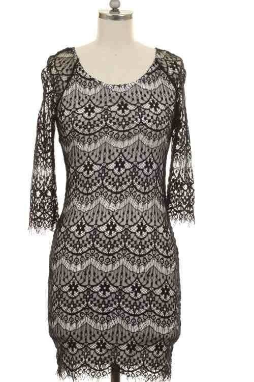 Beautiful Size S Black Lace Design Dress Sexy