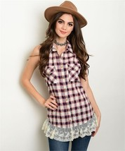 New One Story Plaid Sleeveless Ruffle Hem Top S,M,L - $16.00