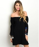 New off shoulder black dress with festival print bell sleeves, cotton, b... - $13.00
