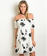 New White and Black Floral Embroidered Off Shou... - $26.30