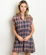 New Navy Plaid Preppy Button Down Dress S,M,L - $14.99