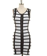 New Large Super Sexy  Zip Up Front Black And White  Dress Boutique Style - $14.49