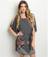 New Boho Black Fuchsia Floral Cut Out Shoulder Dress S,M,L - $26.00