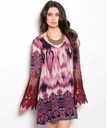 New Burgandy Crochet Sleeve Tie Dye Dress S,M,L - $25.99