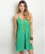 New Green Bohemian Shift Dress Crochet Detail L - $23.99