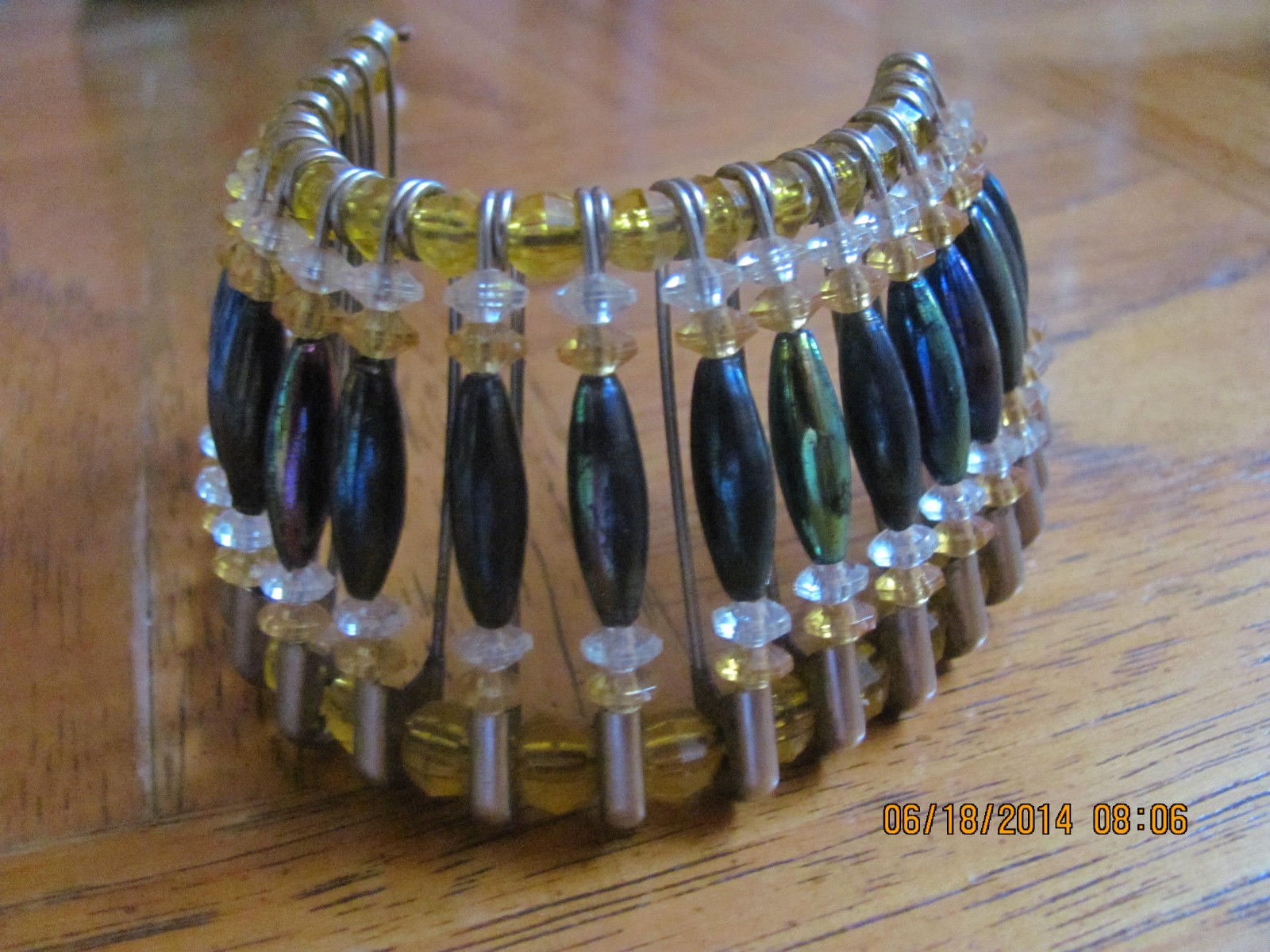 VINTAGE CHEROKEE MADE HEAD DRESS MADE FROM  BEADS AND SAFTY PINS- VERY OLD!!