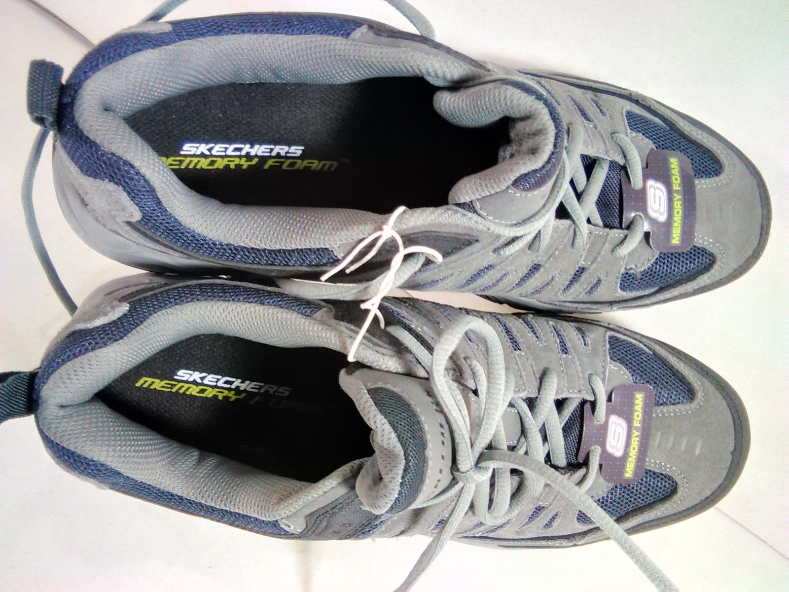 Navy Gray Skechers Sport Mens Freefall Break Through Memory Foam