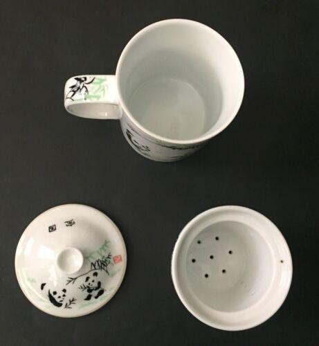 Panda Bear Tea Infuser Mug Tall Cup Leaf Strainer Lid White Black Green image 5