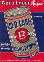 Gold Label Baking Powder Recipes Booklet c1925 Jaques Mfg Co Chicago IL - $9.85