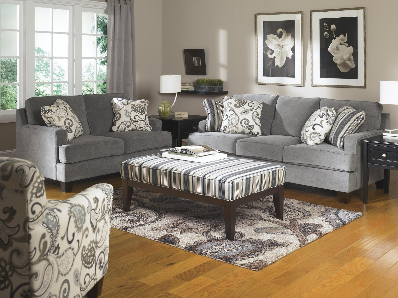 Ashley Yvette Living Room Set 4pcs in Steel Upholstery Fabric Contemporary Style