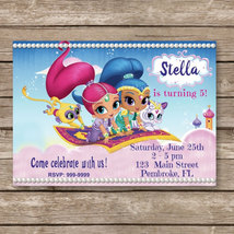 Shimmer & Shine Digital Invitation - Shimmer and Shine Invites - $8.00