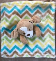 Chevron Dog Lovey Security Blanket Little Miracles Stripes Yellow Blue T... - $19.50
