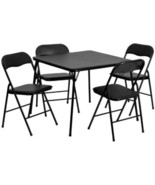 5 Piece Black Folding Card Table 4 Chair Set Chairs Cards Family Group ... - $107.48