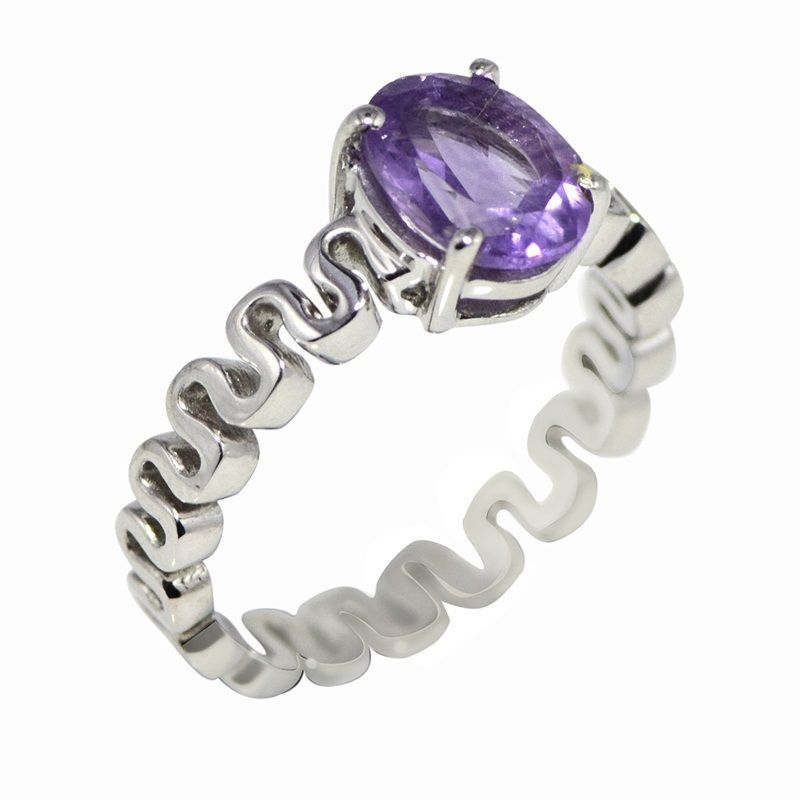 Fashion women silver ring with amethyst gemstone 925 silver ring sz 8.5 SHRI0677