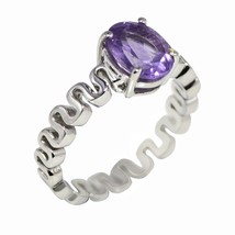 Fashion women silver ring with amethyst gemstone 925 silver ring sz 8.5 ... - $17.72