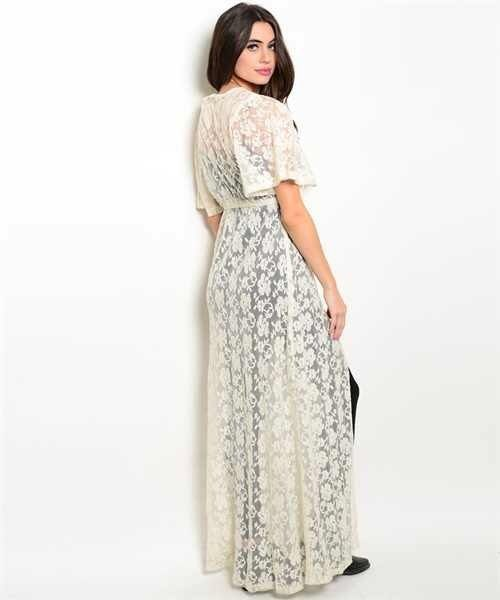 New S Ivory Lace Boho Long Kimono Perfect As A Beach Cover Up Or Over A Dress