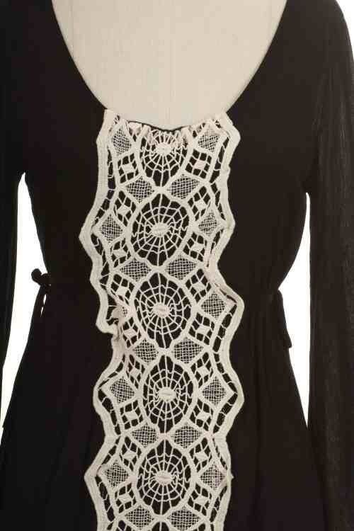 New Black Lace Front Dress S Boho Chic Very Beautiful