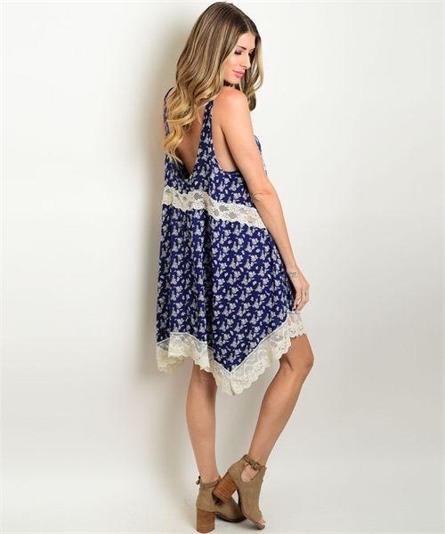 New Wanderlust LA Navy Floral Dress With Lace Hem S,M,L