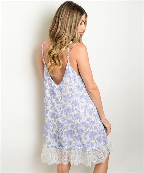 New Wanderlust LA blue and white paisley print dress with lace hem boho chic SML