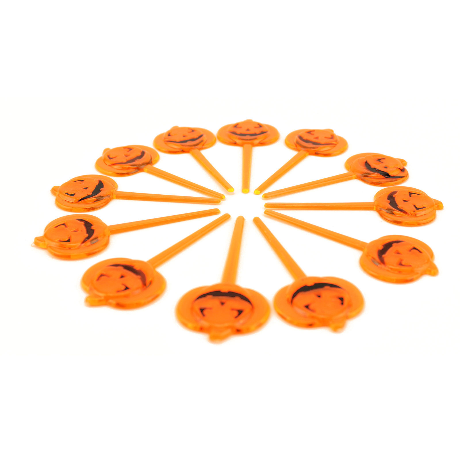 Halloween Orange Pumpkin Party Cupcake Appetizers Pick Toppers Decorations