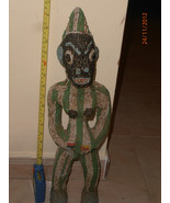 very old African wood fetish, good size, rare, all covered wood, African... - $1,999.00