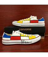 Classic Converse All Star Design Hand Painted Shoes Low Top Sneakers Mon... - $145.00