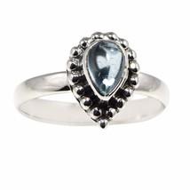 Pear Shape 7X5 MM Blue Topaz Gemstone 925 Sterling Silver Ring Sz 7.5 SH... - $11.66