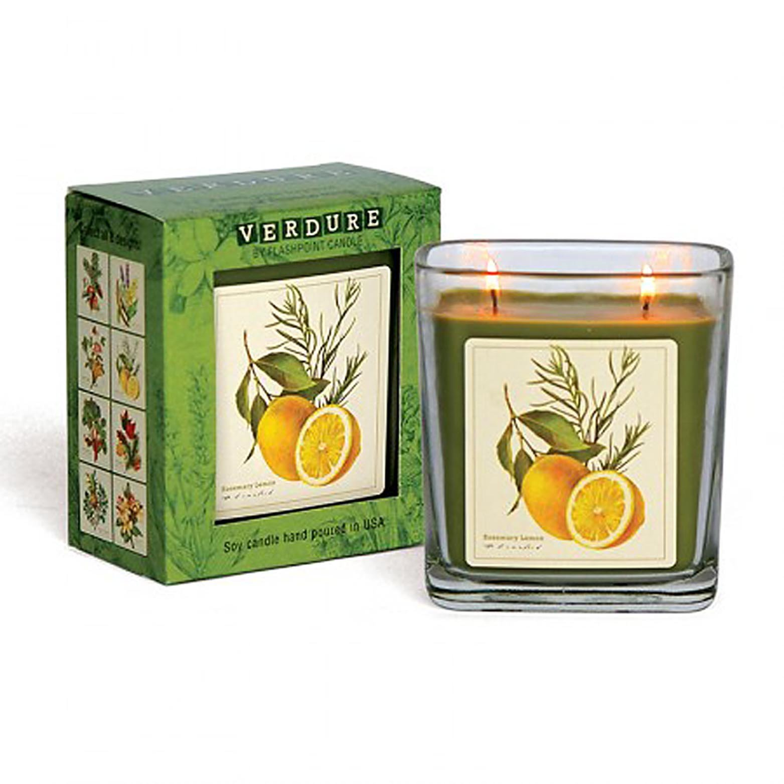 Verdure Soy Double Wick Candle Hand Poured in USA Boxed Gift (Rosemary Lemon)